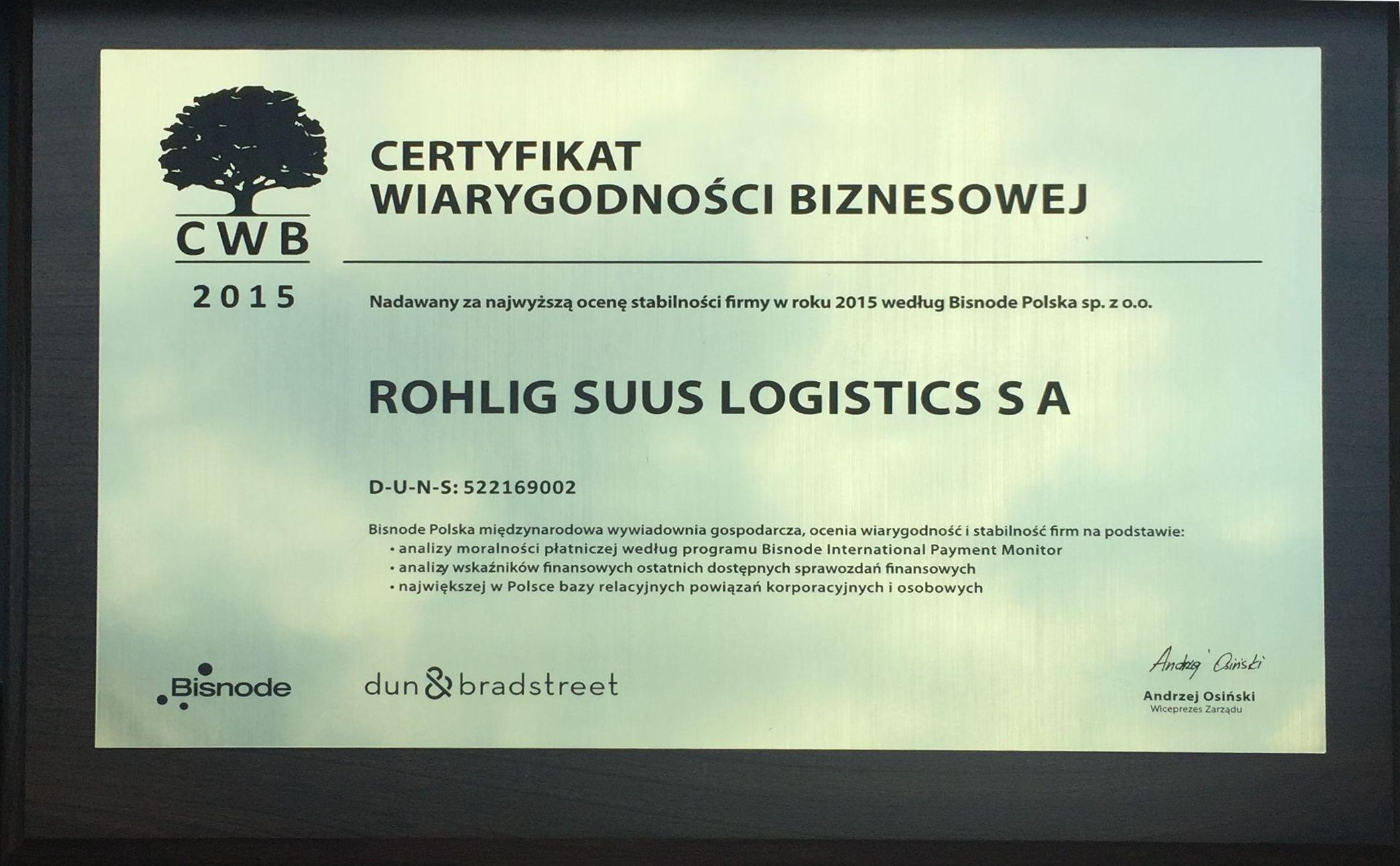 ROHLIG SUUS Logistics z prestiżowym Certyfikatem