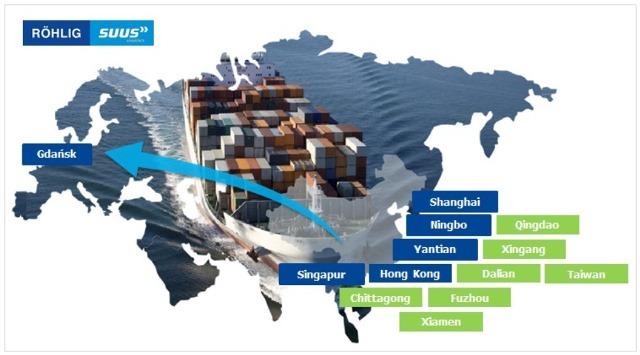Sieć połączeń z portami azjatyckimi