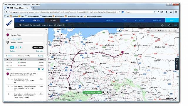Mapy Here dla branży logistycznej