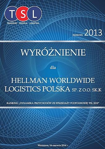 Firma Hellmann w rankingu TSL 2013