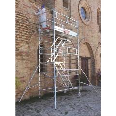 Pojedyncze rusztowanie jezdne ze schodami Top system 135×245 cm