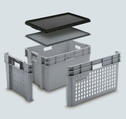Pojemnik obrotowy do składowania w stosie