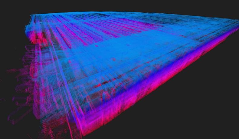 Model 3D magazynu ID Logistics__widok z góry chmura punktów_aplikacja IndoorViewer
