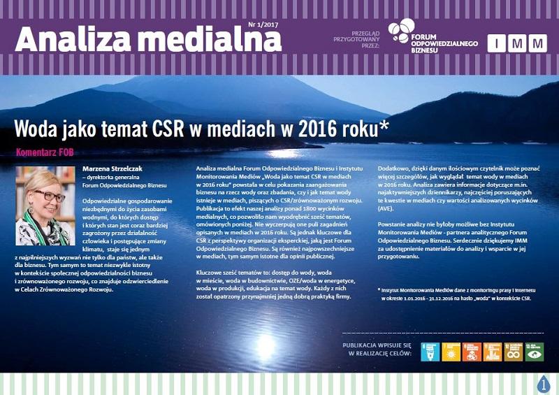 Woda tematem CSR – analiza medialna FOB i IMM