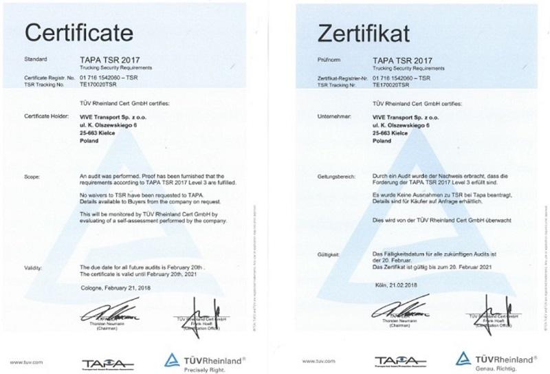 Certyfikat procesów logistyki transportowej