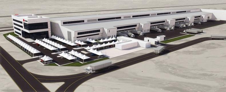 Widok z lotu ptaka na centrum logistyczne w budowie w dzielnicy logistycznej Dubaj Południe