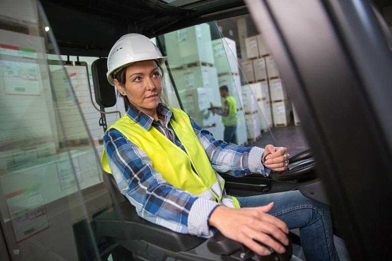 Female forklift truck operator