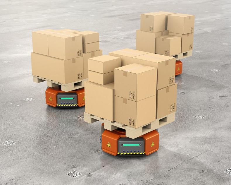 Autonomiczne urządzenia przemysłowe w magazynie